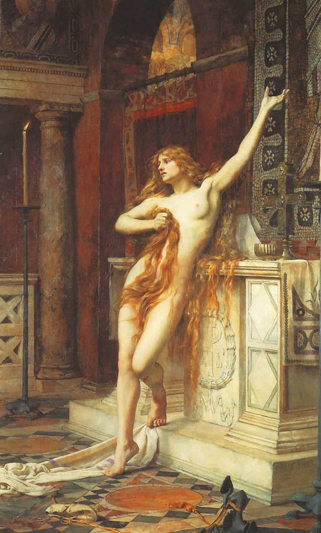 Hipatia de Alejandría según el pintor Charles William Mitchell (1885)